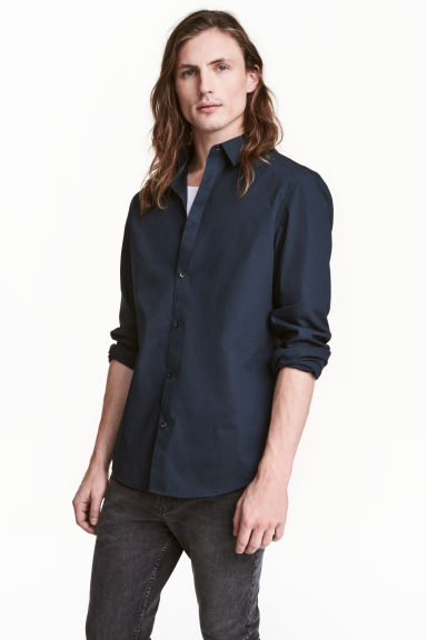 Easy-iron shirt Slim fit - Dark blue - Men | H&M CN
