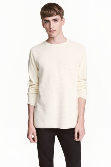 Textured jumper - Natural white -  | H&M