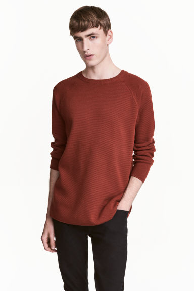 Textured jumper - Rust red -  | H&M