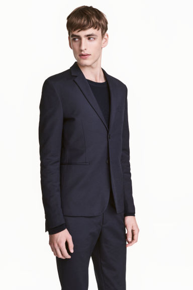 Textured jacket Slim fit - Dark blue -  | H&M