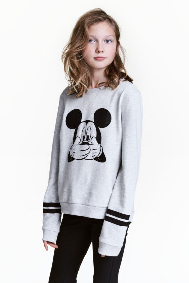 Printed sweatshirt - Light grey/Mickey Mouse - Kids | H&M CN