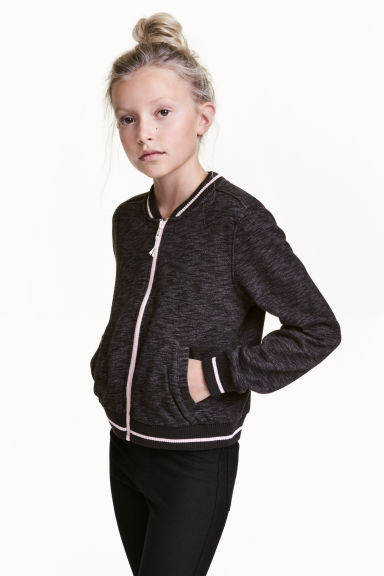 Sweatshirt jacket - Black marl - Kids | H&M CN