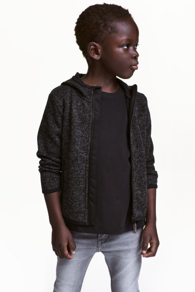 Knitted fleece jacket - Black marl - Kids | H&M CN