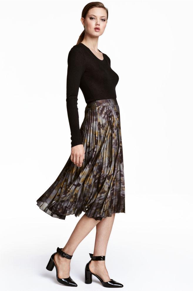 c68c163912 Falda plisada - Negro Metalizado - MUJER