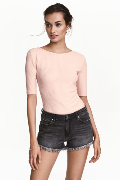 Ribbed jersey top - Powder - Ladies | H&M CN
