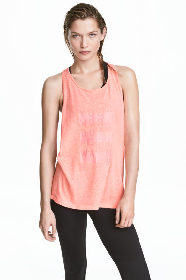 Sports vest top - Coral marl -  | H&M GB