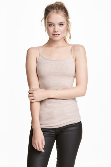 Long jersey strappy top - Beige -  | H&M CN