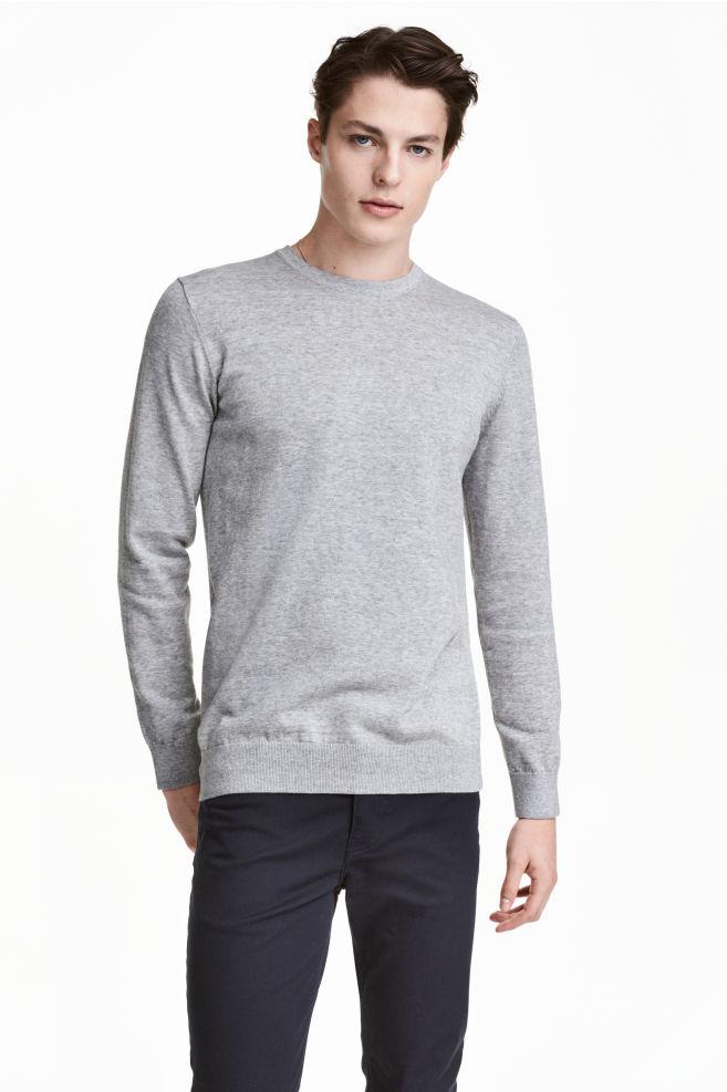 5febf5b16f9 Jemně pletený bavlněný svetr - Šedý melír - MUŽI