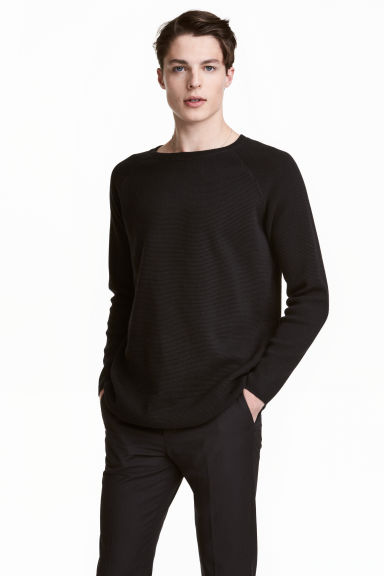 Textured jumper - Black - Men | H&M CN