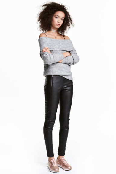 Leggings with zips - Black -  | H&M
