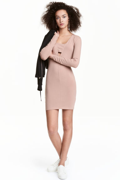 Bodycon dress - Beige -  | H&M CN