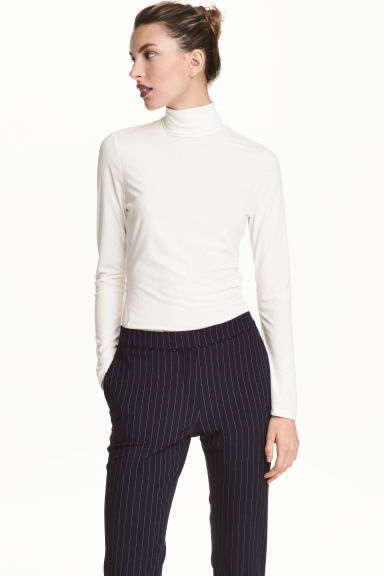 Ribbed polo-neck top - Natural white - Ladies | H&M GB