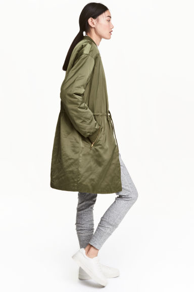 Long bomber jacket - Khaki green - Ladies | H&M