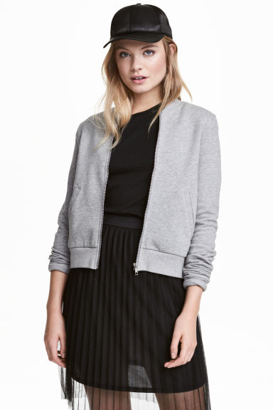 Sweatshirt jacket - Grey marl -  | H&M