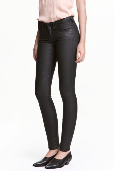 Coated Skinny Low Jeans - 黑色 - Ladies | H&M CN
