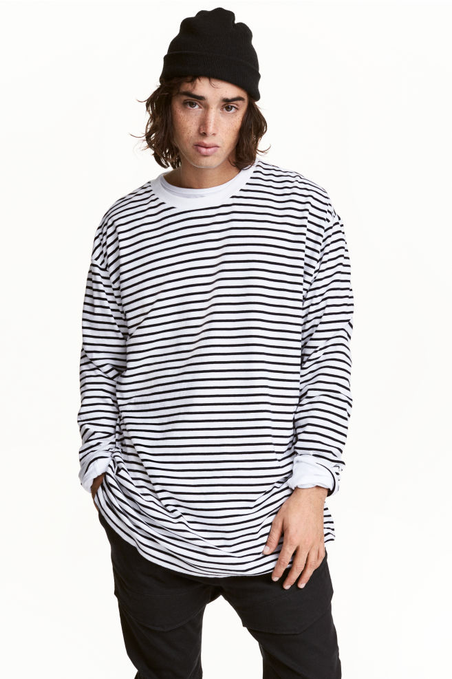 f8a927058c8616 Oversized long-sleeved T-shirt - White/Black striped - Men | H&M GB