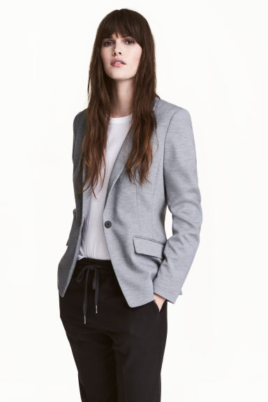 Single-button jersey jacket - Grey marl - Ladies | H&M CA