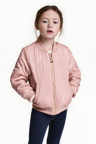 Quilted bomber jacket - Powder pink - Kids | H&M CA