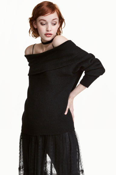 Off-the-shoulder jumper - Black -  | H&M
