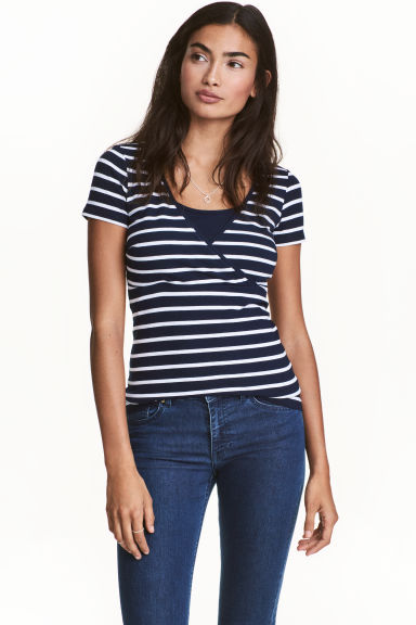 MAMA 2-pack nursing tops - Dark blue/Striped - Ladies | H&M GB