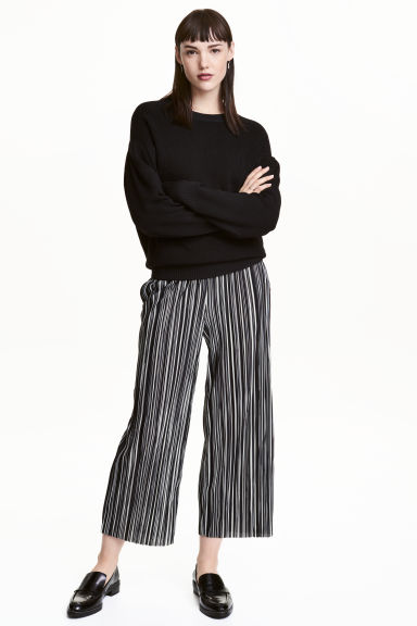 Pleated trousers - Black/White/Striped -  | H&M