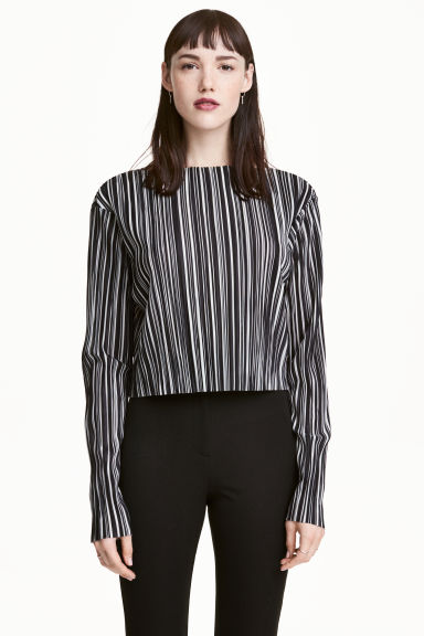 Pleated cropped top - Black/White/Striped -  | H&M