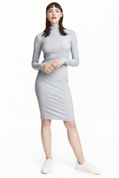 高領平紋洋裝 - Light grey marl - Ladies | H&M