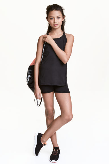 Short sports tights - Black -  | H&M CN