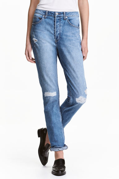 Relaxed High Jeans - Denim blue trashed - Ladies | H&M GB
