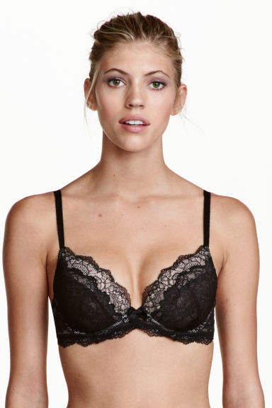 Lace push-up bra - Black/Light beige -  | H&M