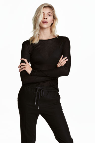 Airy jersey top - Black - Ladies | H&M CN