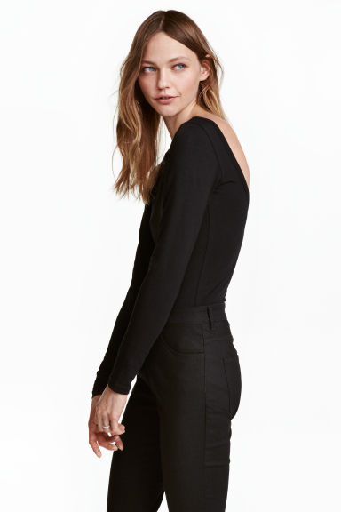 Jersey top - Black - Ladies | H&M CN