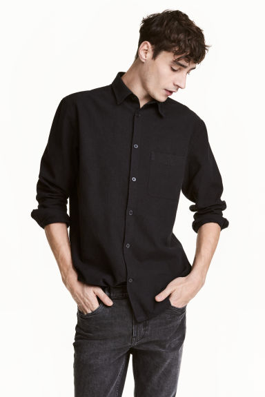 Linen-blend shirt Relaxed fit - Black -  | H&M CN
