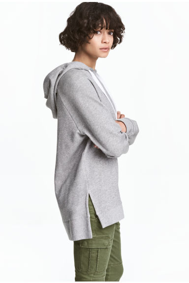 Oversized hooded top - Grey marl -  | H&M