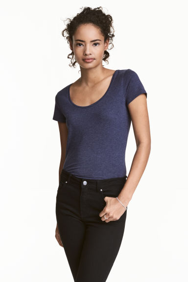 Jersey top - Dark blue marl -  | H&M