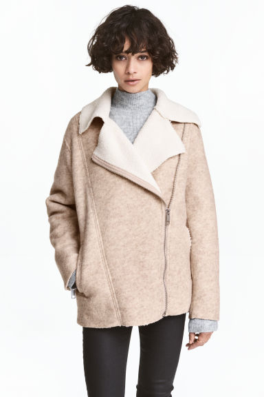 Wool-blend biker jacket - Light beige marl - Ladies | H&M