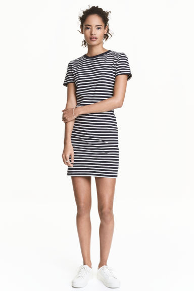 Jersey Dress - Dark blue/Striped - Ladies | H&M US