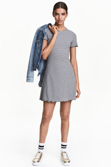 Ribbed jersey dress - Grey/Narrow striped -  | H&M