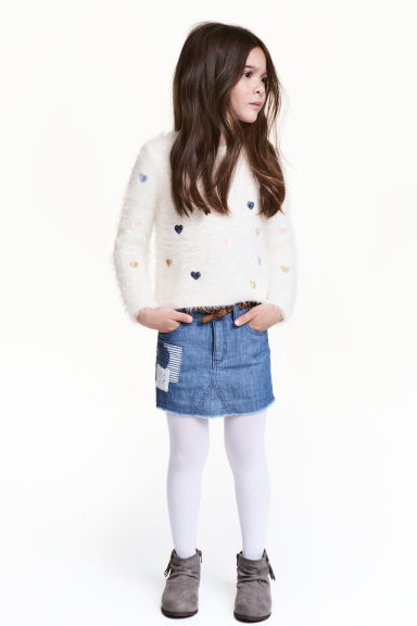 Skirt with braided belt - Denim blue - Kids | H&M CN