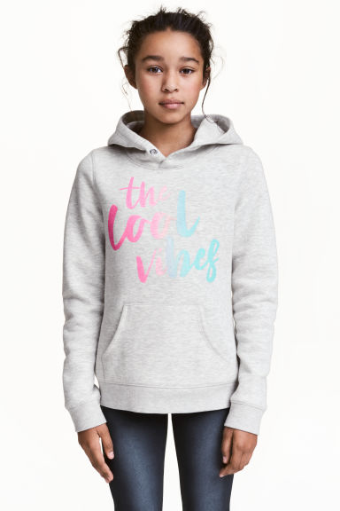 Hooded top with a text motif - Light grey marl -  | H&M CN