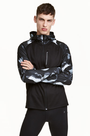 Hooded running jacket - Black/White/Patterned - Men | H&M