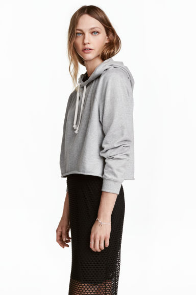 Hooded crop top - Grey marl - Ladies | H&M CN