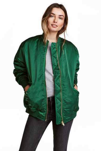 Oversized bomber jacket - Emerald green - Ladies | H&M CA