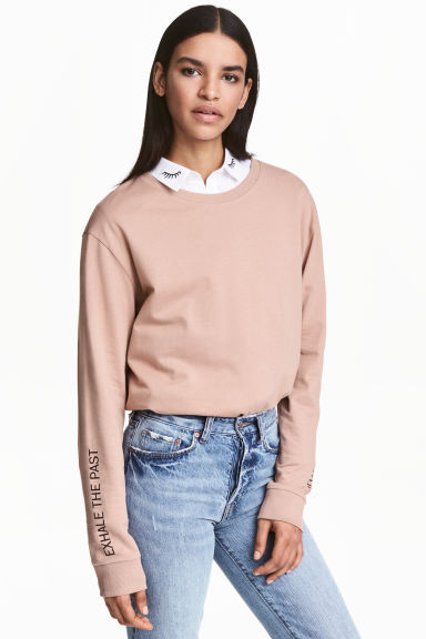 Sweat-shirt avec impression - Beige -  | H&M BE