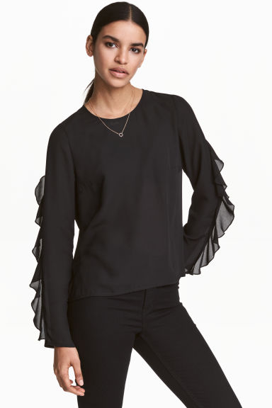 Blouse with frills - Black - Ladies | H&M CN