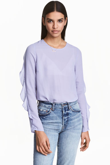 荷葉邊女衫 - Lavender - Ladies | H&M