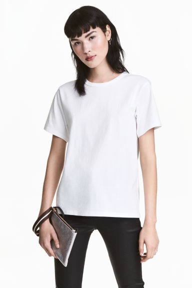 Jersey T-shirt - White - Ladies | H&M