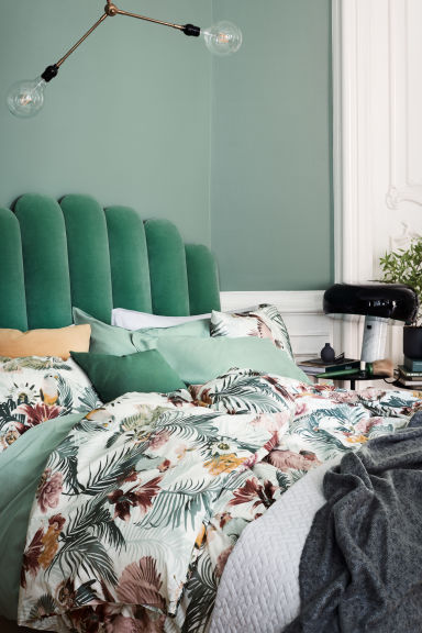 Floral-print duvet cover set - White/Birds - Home All | H&M GB