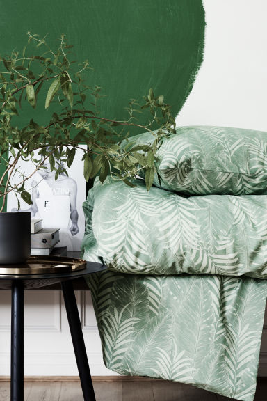 Set copripiumino con stampa - Verde nebbia - HOME | H&M IT