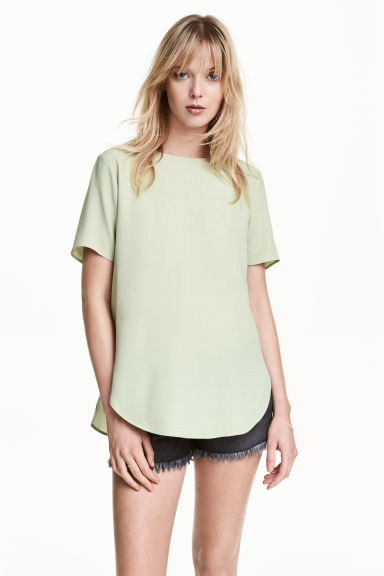 縐紗上衣 - Light green - Ladies | H&M